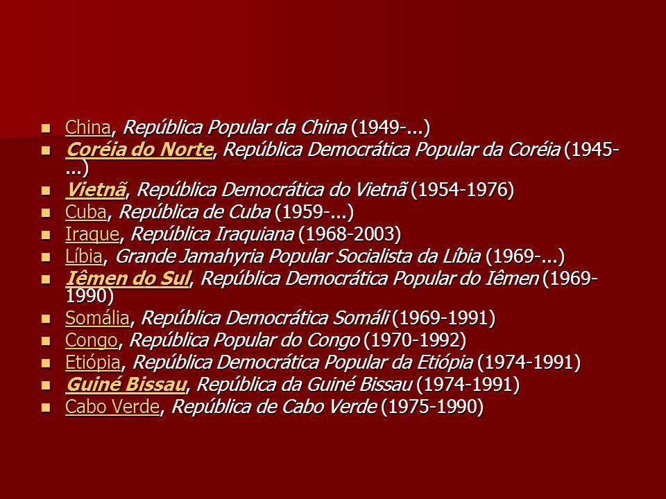 China, República Popular da China (1949-...) China, República Popular da China (1949-...) China Coréia do Norte, República Democrática Popular da Coré