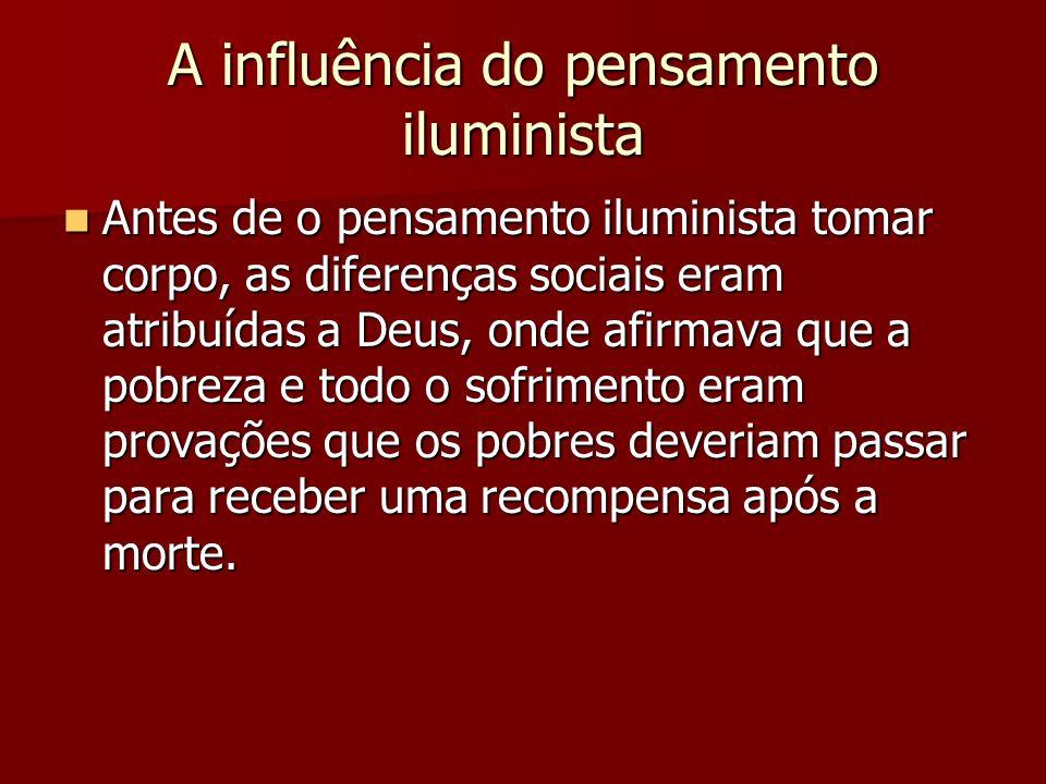 A influência do pensamento iluminista Antes de o pensamento iluminista tomar corpo, as diferenças sociais eram atribuídas a Deus, onde afirmava que a