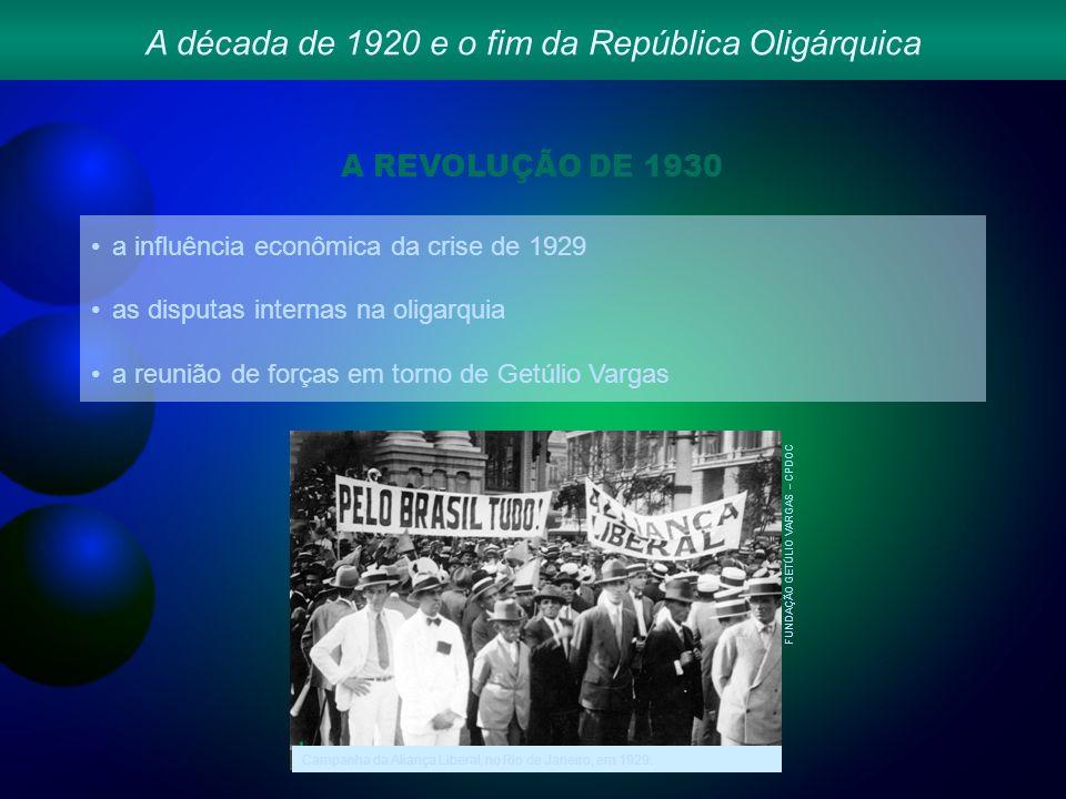 A década de 1920 e o fim da República Oligárquica A REVOLUÇÃO DE 1930 a influência econômica da crise de 1929 as disputas internas na oligarquia a reunião de forças em torno de Getúlio Vargas FUNDAÇÃO GETÚLIO VARGAS – CPDOC Campanha da Aliança Liberal, no Rio de Janeiro, em 1929.