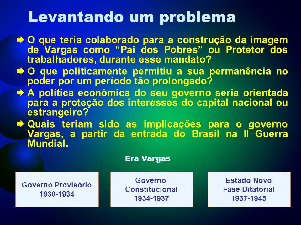 ORDEM ECONÔMICA A maior preocupação de Vargas foi com a Industrialização.