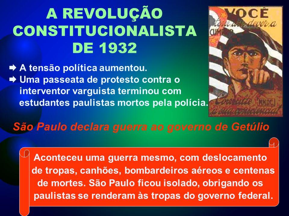 A REVOLUÇÃO CONSTITUCIONALISTA DE 1932 A tensão política aumentou.