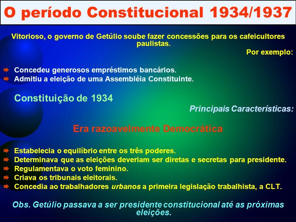 O período Constitucional 1934/1937 Vitorioso, o governo de Getúlio soube fazer concessões para os cafeicultores paulistas.