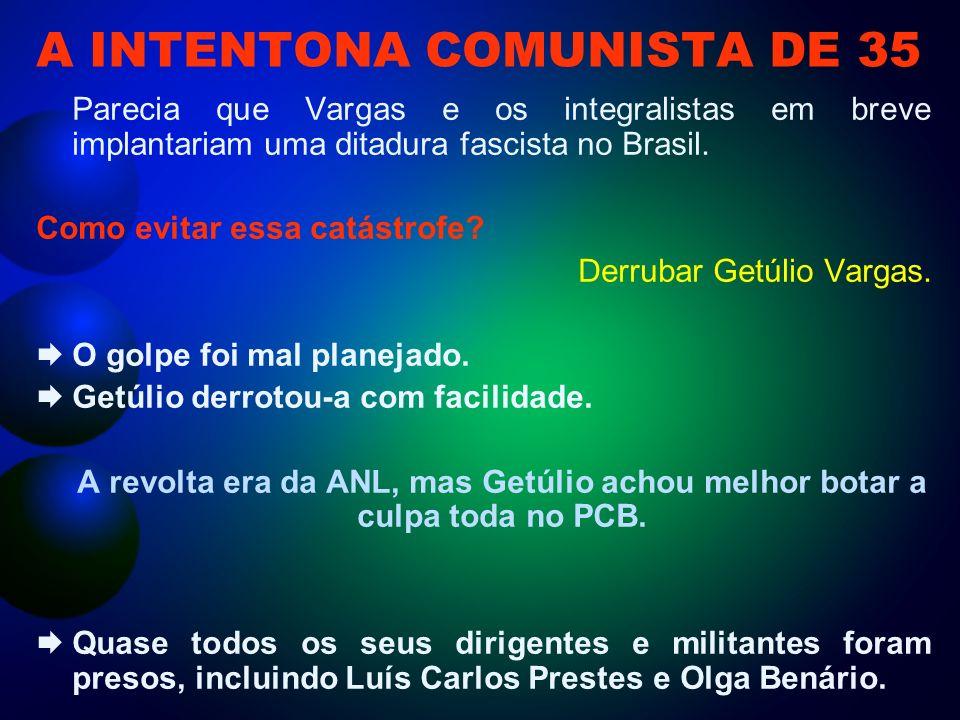 A INTENTONA COMUNISTA DE 35 Parecia que Vargas e os integralistas em breve implantariam uma ditadura fascista no Brasil.