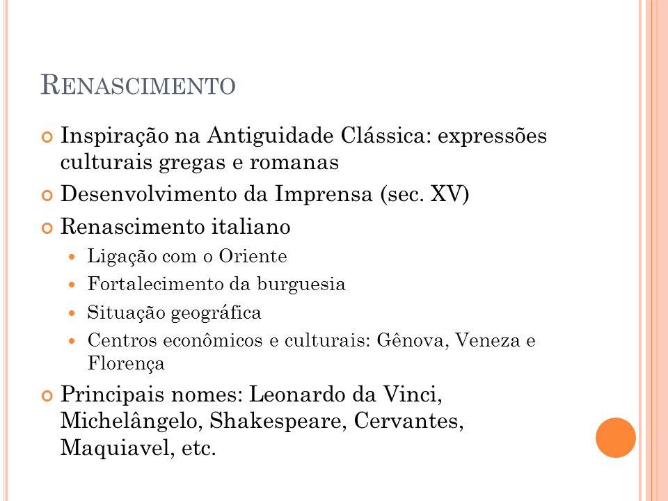 R ENASCIMENTO Inspiração na Antiguidade Clássica: expressões culturais gregas e romanas Desenvolvimento da Imprensa (sec. XV) Renascimento italiano Li