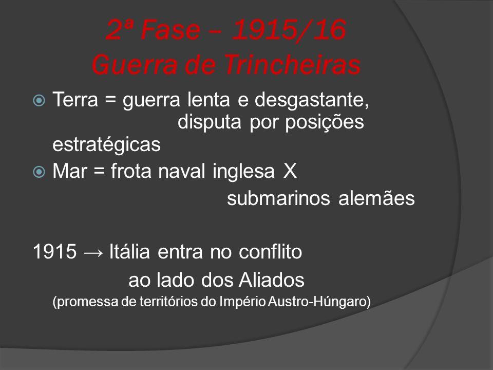 2ª Fase – 1915/16 Guerra de Trincheiras Terra = guerra lenta e desgastante, disputa por posições estratégicas Mar = frota naval inglesa X submarinos a