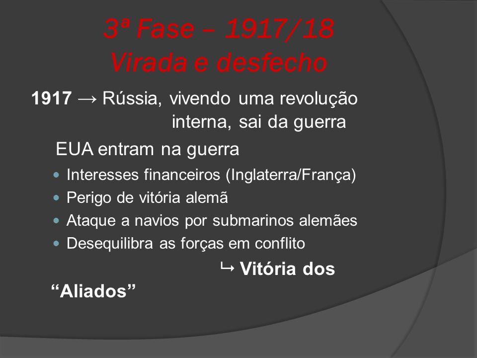 3ª Fase – 1917/18 Virada e desfecho 1917 Rússia, vivendo uma revolução interna, sai da guerra EUA entram na guerra Interesses financeiros (Inglaterra/