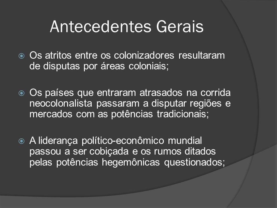 Antecedentes Gerais Os atritos entre os colonizadores resultaram de disputas por áreas coloniais; Os países que entraram atrasados na corrida neocolon