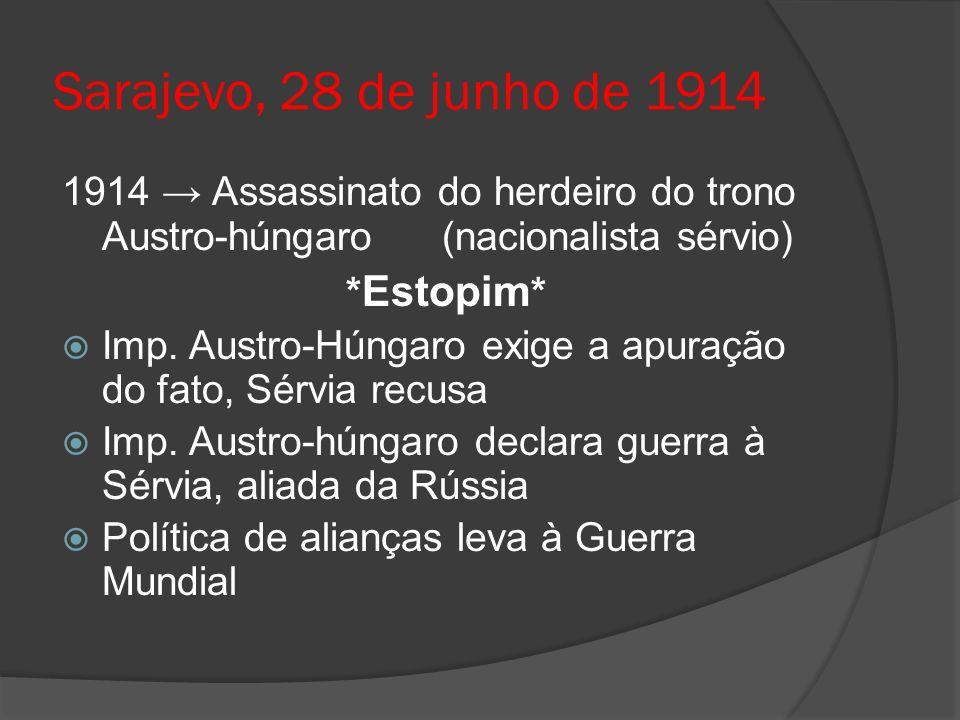 Sarajevo, 28 de junho de 1914 1914 Assassinato do herdeiro do trono Austro-húngaro (nacionalista sérvio) * Estopim * Imp. Austro-Húngaro exige a apura