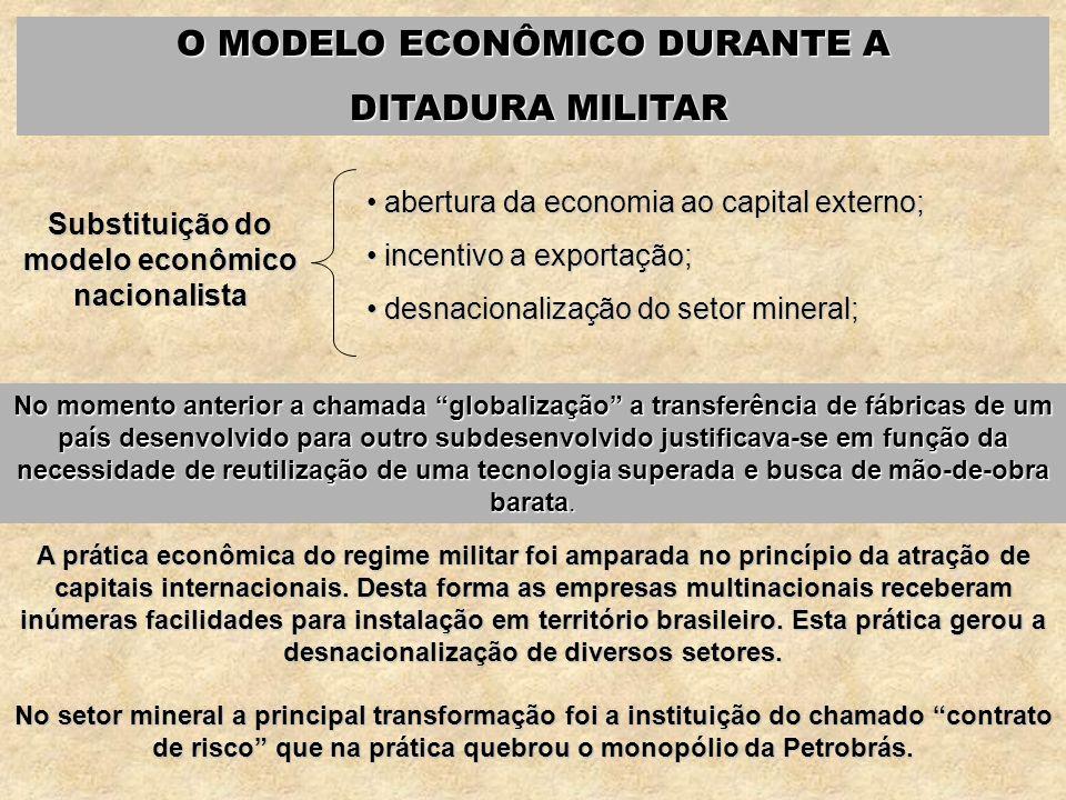 O MODELO ECONÔMICO DURANTE A DITADURA MILITAR DITADURA MILITAR Substituição do modelo econômico nacionalista abertura da economia ao capital externo;