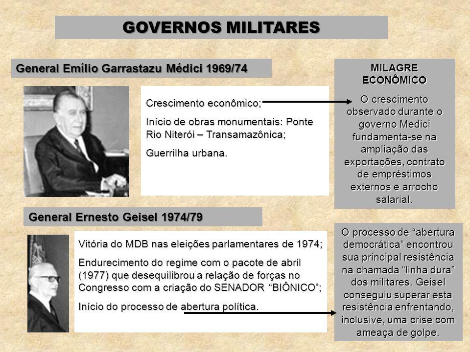 GOVERNOS MILITARES General Emílio Garrastazu Médici 1969/74 Crescimento econômico; Início de obras monumentais: Ponte Rio Niterói – Transamazônica; Gu