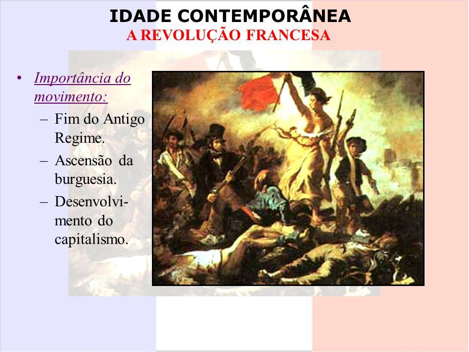 IDADE CONTEMPORÂNEA A REVOLUÇÃO FRANCESA Importância do movimento: –Fim do Antigo Regime. –Ascensão da burguesia. –Desenvolvi- mento do capitalismo.