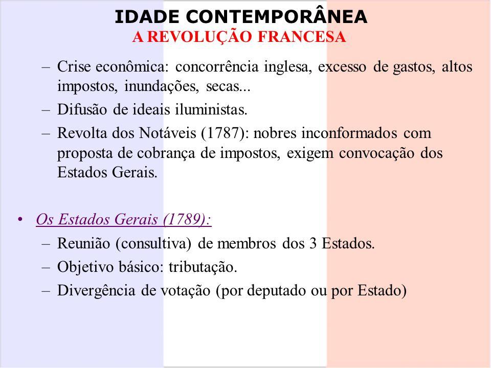 IDADE CONTEMPORÂNEA A REVOLUÇÃO FRANCESA –Crise econômica: concorrência inglesa, excesso de gastos, altos impostos, inundações, secas... –Difusão de i