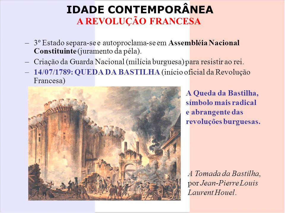 IDADE CONTEMPORÂNEA A REVOLUÇÃO FRANCESA –3º Estado separa-se e autoproclama-se em Assembléia Nacional Constituinte (juramento da péla). –Criação da G