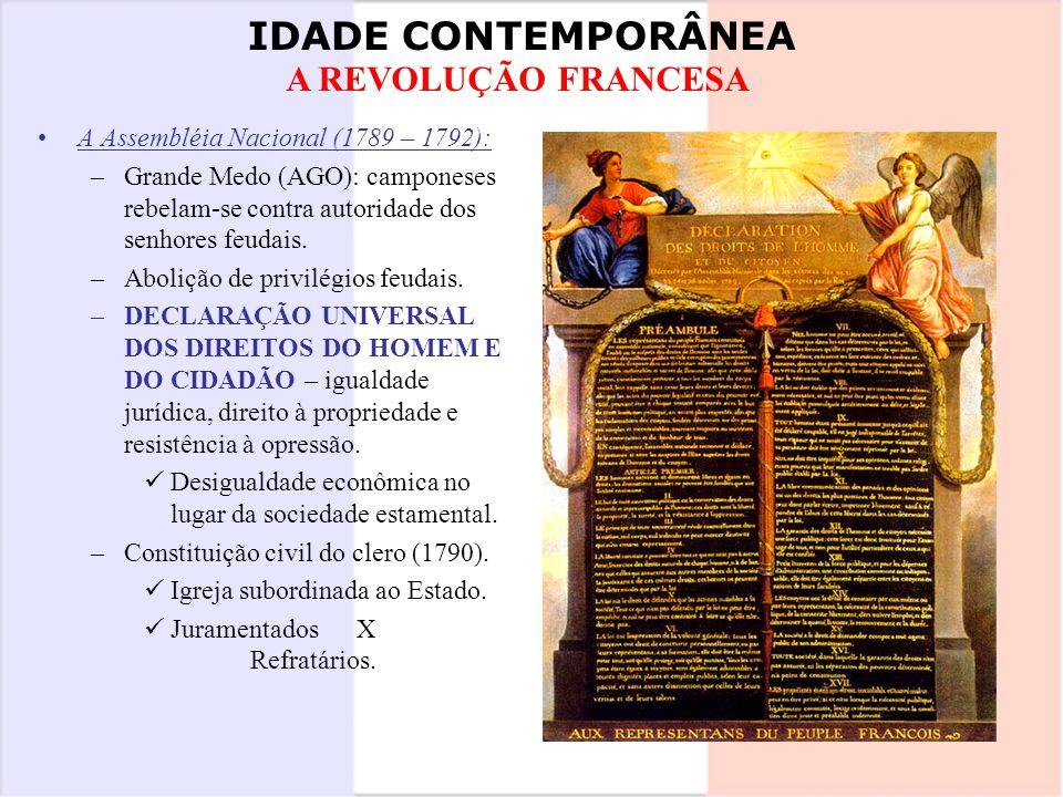 IDADE CONTEMPORÂNEA A REVOLUÇÃO FRANCESA A Assembléia Nacional (1789 – 1792): –Grande Medo (AGO): camponeses rebelam-se contra autoridade dos senhores