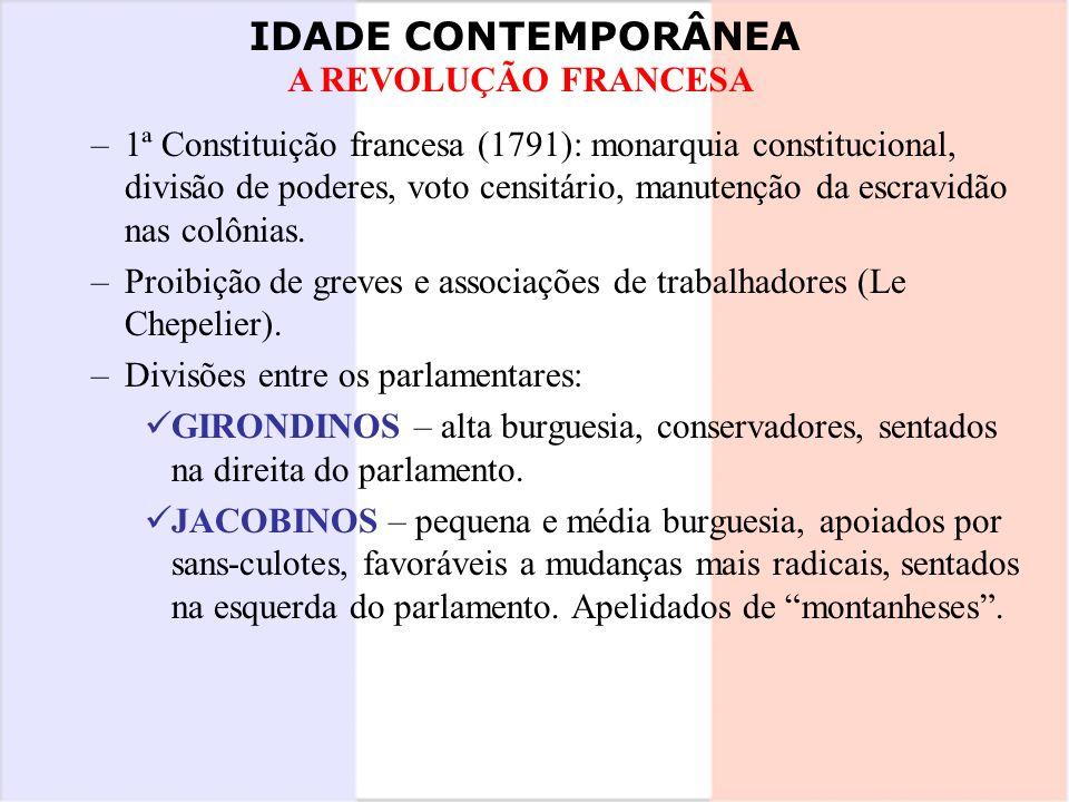 IDADE CONTEMPORÂNEA A REVOLUÇÃO FRANCESA –1ª Constituição francesa (1791): monarquia constitucional, divisão de poderes, voto censitário, manutenção d