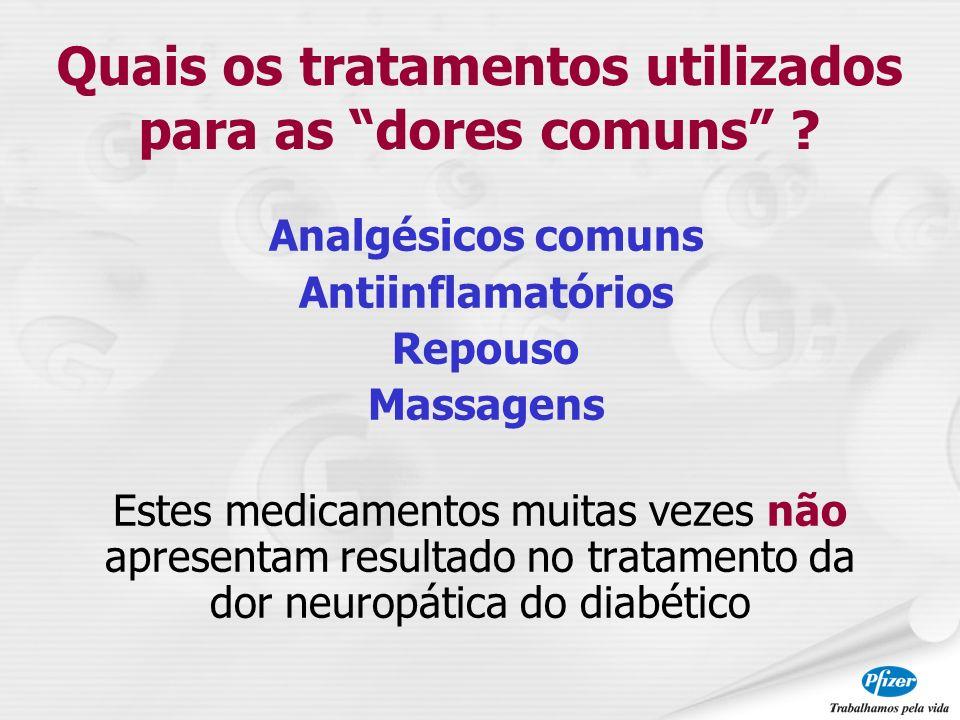 Analgésicos comuns Antiinflamatórios Repouso Massagens Estes medicamentos muitas vezes não apresentam resultado no tratamento da dor neuropática do di