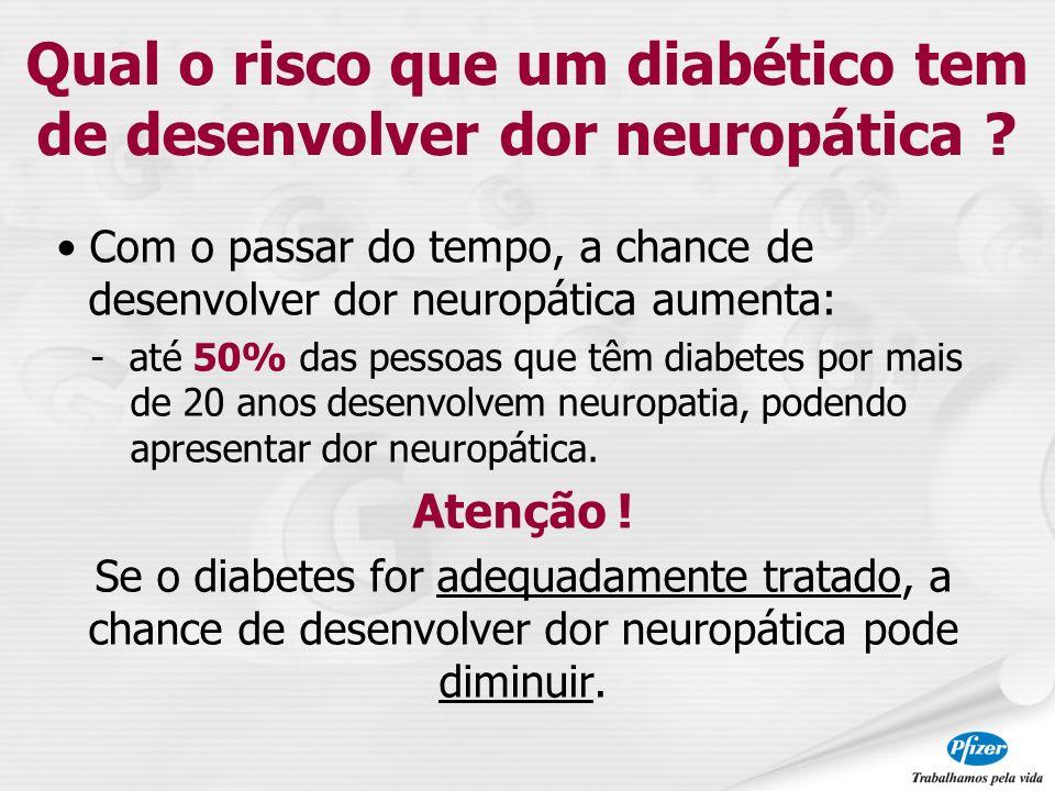Com o passar do tempo, a chance de desenvolver dor neuropática aumenta: - até 50% das pessoas que têm diabetes por mais de 20 anos desenvolvem neuropa