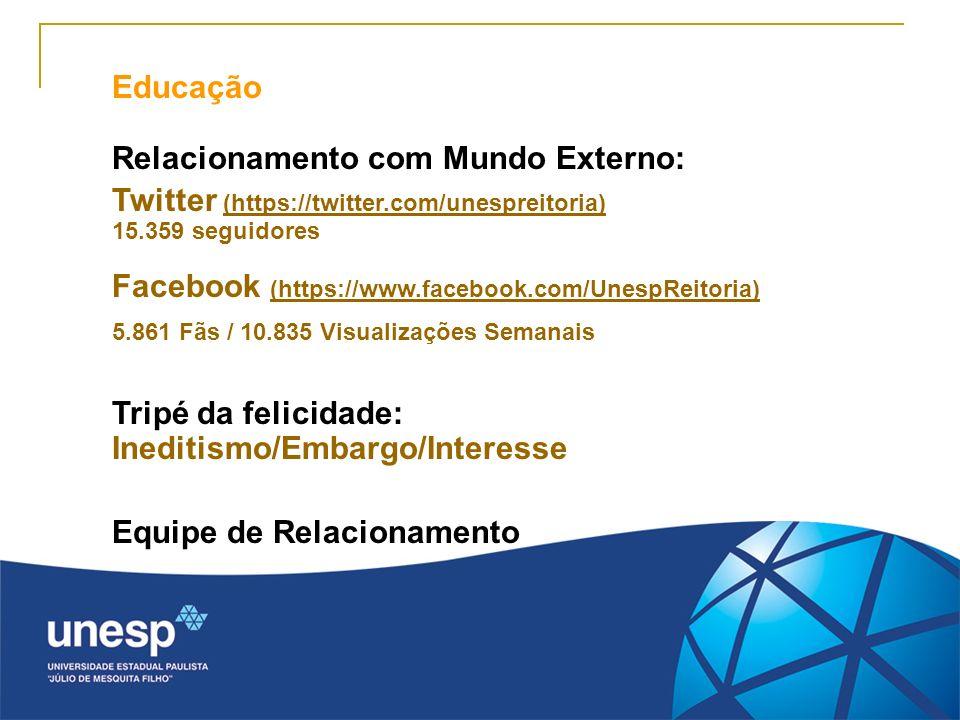 Educação Relacionamento com Mundo Externo: Twitter (https://twitter.com/unespreitoria) 15.359 seguidores Facebook (https://www.facebook.com/UnespReito