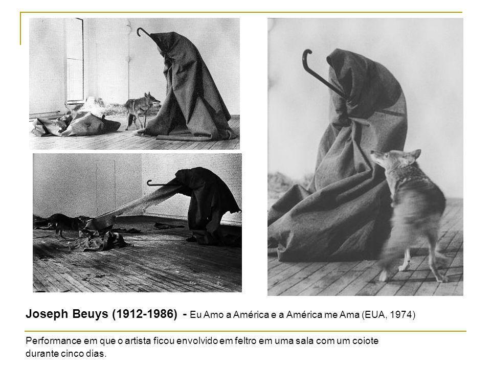 Joseph Beuys (1912-1986) - Eu Amo a América e a América me Ama (EUA, 1974) Performance em que o artista ficou envolvido em feltro em uma sala com um c