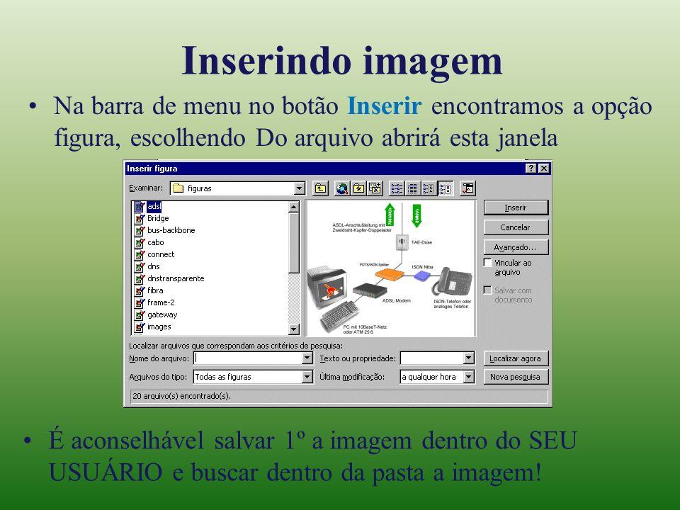 Inserindo imagem Na barra de menu no botão Inserir encontramos a opção figura, escolhendo Do arquivo abrirá esta janela É aconselhável salvar 1º a ima