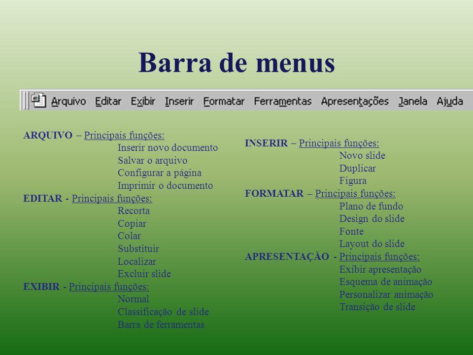 Barra de menus ARQUIVO – Principais funções: Inserir novo documento Salvar o arquivo Configurar a página Imprimir o documento EDITAR - Principais funç