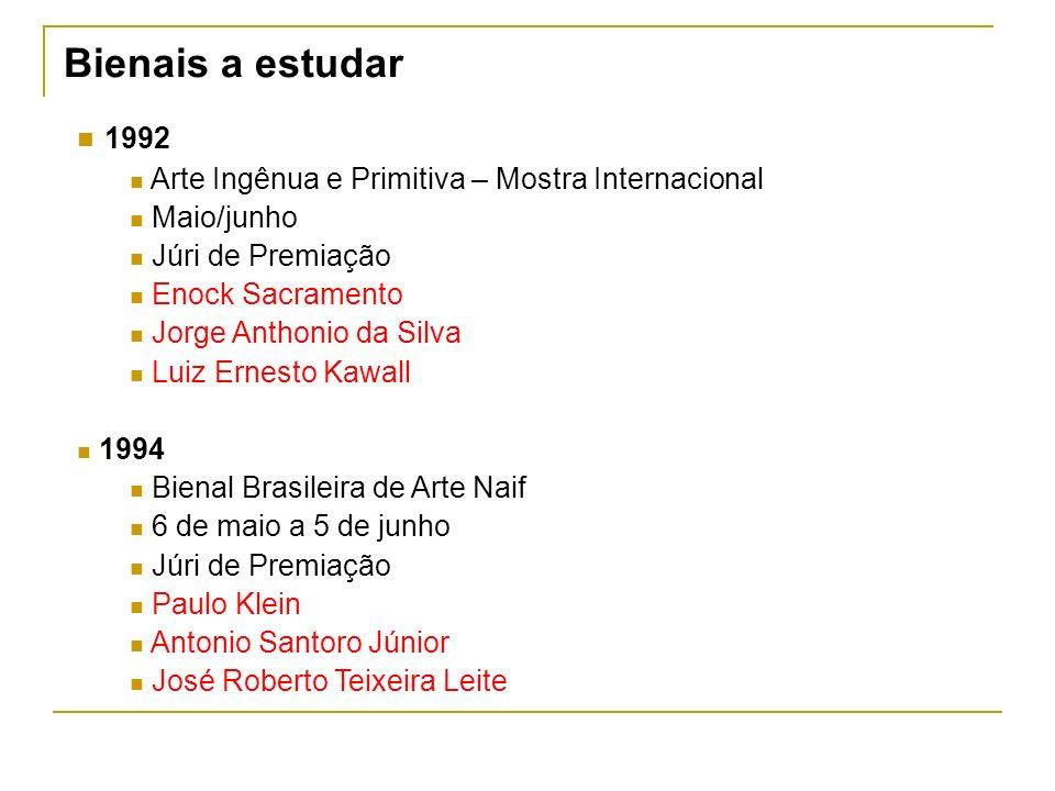 1992 Arte Ingênua e Primitiva – Mostra Internacional Maio/junho Júri de Premiação Enock Sacramento Jorge Anthonio da Silva Luiz Ernesto Kawall 1994 Bi