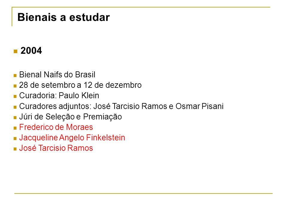 Bienais a estudar 2004 Bienal Naifs do Brasil 28 de setembro a 12 de dezembro Curadoria: Paulo Klein Curadores adjuntos: José Tarcisio Ramos e Osmar P