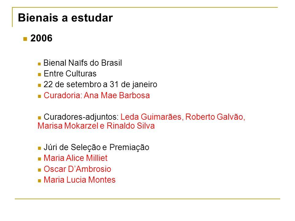 Bienais a estudar 2006 Bienal Naïfs do Brasil Entre Culturas 22 de setembro a 31 de janeiro Curadoria: Ana Mae Barbosa Curadores-adjuntos: Leda Guimar