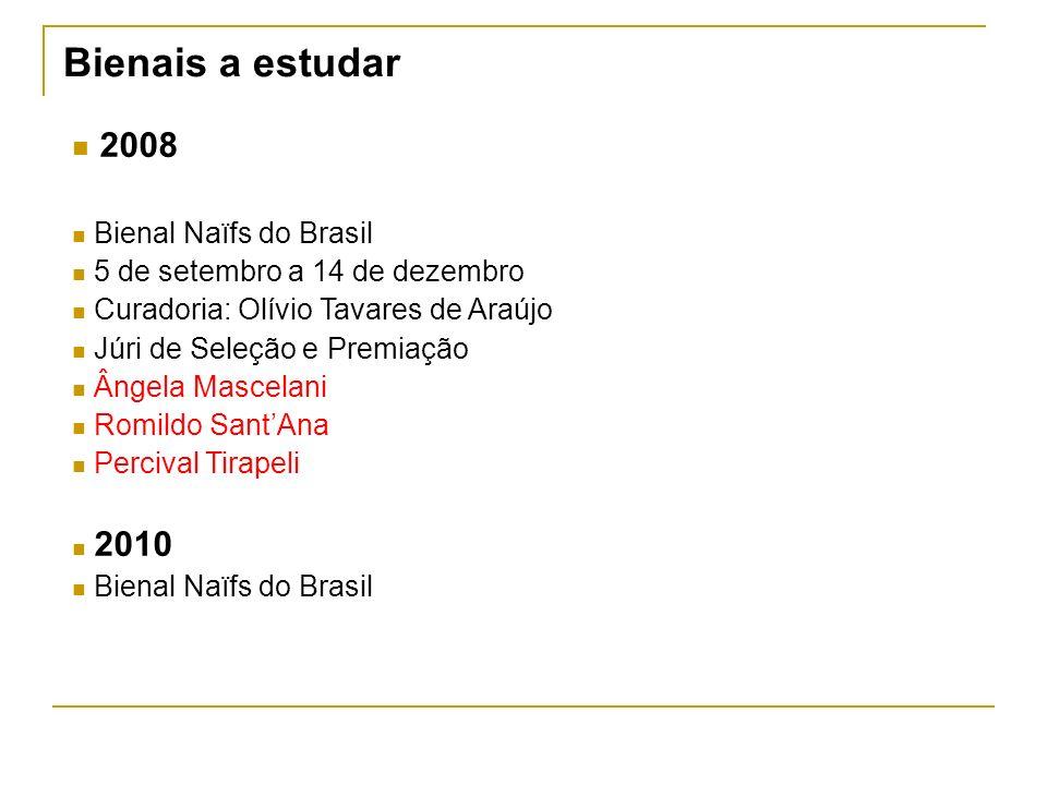 Bienais a estudar 2008 Bienal Naïfs do Brasil 5 de setembro a 14 de dezembro Curadoria: Olívio Tavares de Araújo Júri de Seleção e Premiação Ângela Ma