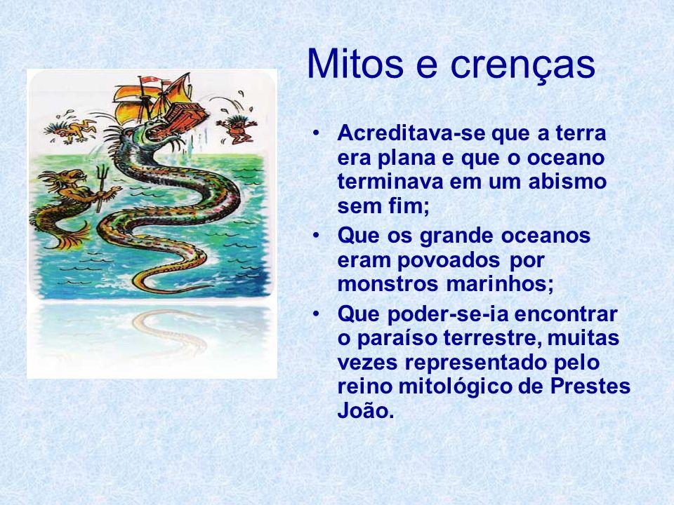 Mitos e crenças Acreditava-se que a terra era plana e que o oceano terminava em um abismo sem fim; Que os grande oceanos eram povoados por monstros ma