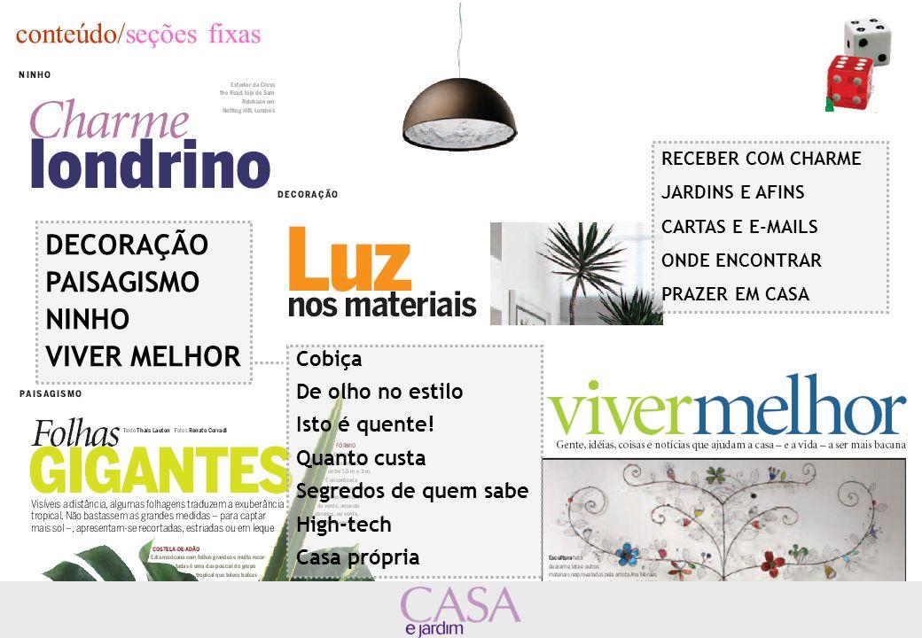 posicionamento/market share CASA E JARDIM é a segunda colocada no segmento de revistas de decoração.