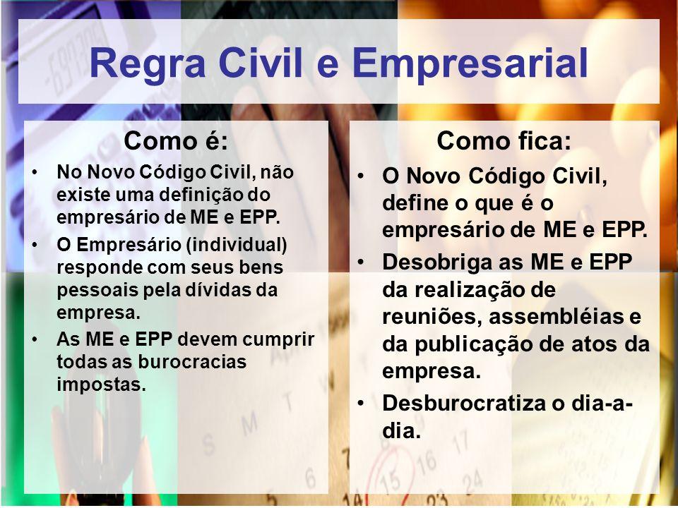 Regra Civil e Empresarial Como é: No Novo Código Civil, não existe uma definição do empresário de ME e EPP. O Empresário (individual) responde com seu