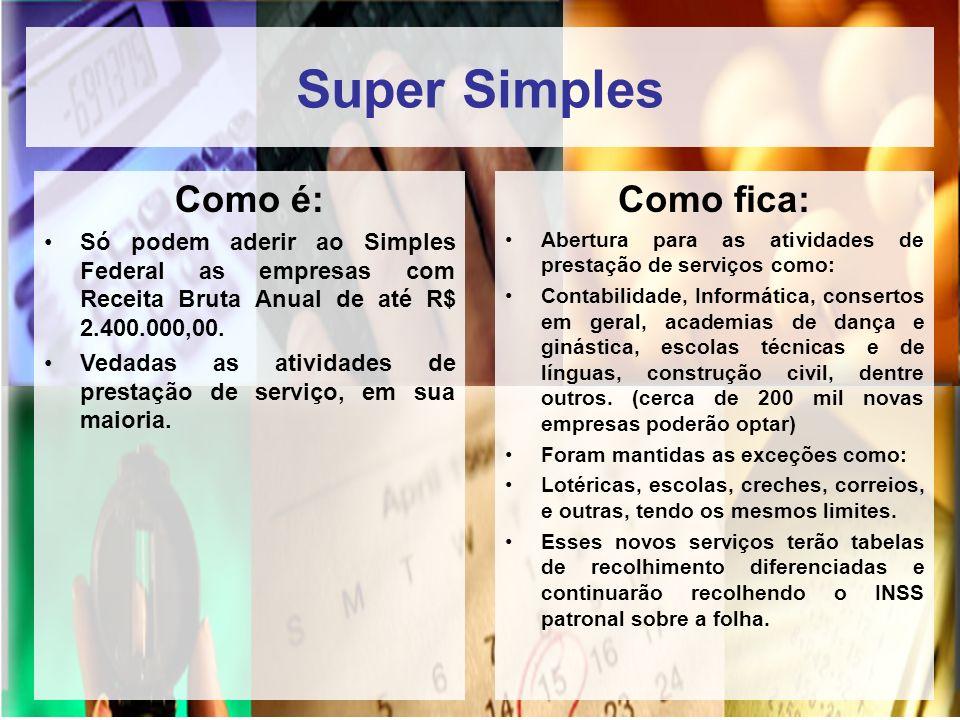 Super Simples Como é: Só podem aderir ao Simples Federal as empresas com Receita Bruta Anual de até R$ 2.400.000,00. Vedadas as atividades de prestaçã
