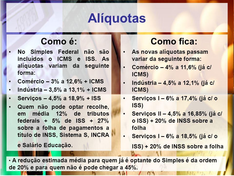 Alíquotas Como é: No Simples Federal não são incluídos o ICMS e ISS. As alíquotas variam da seguinte forma: Comércio – 3% a 12,6% + ICMS Indústria – 3