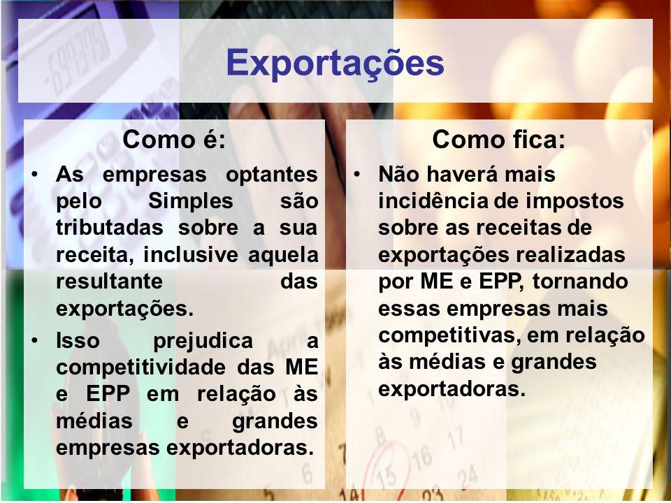 Exportações Como é: As empresas optantes pelo Simples são tributadas sobre a sua receita, inclusive aquela resultante das exportações. Isso prejudica