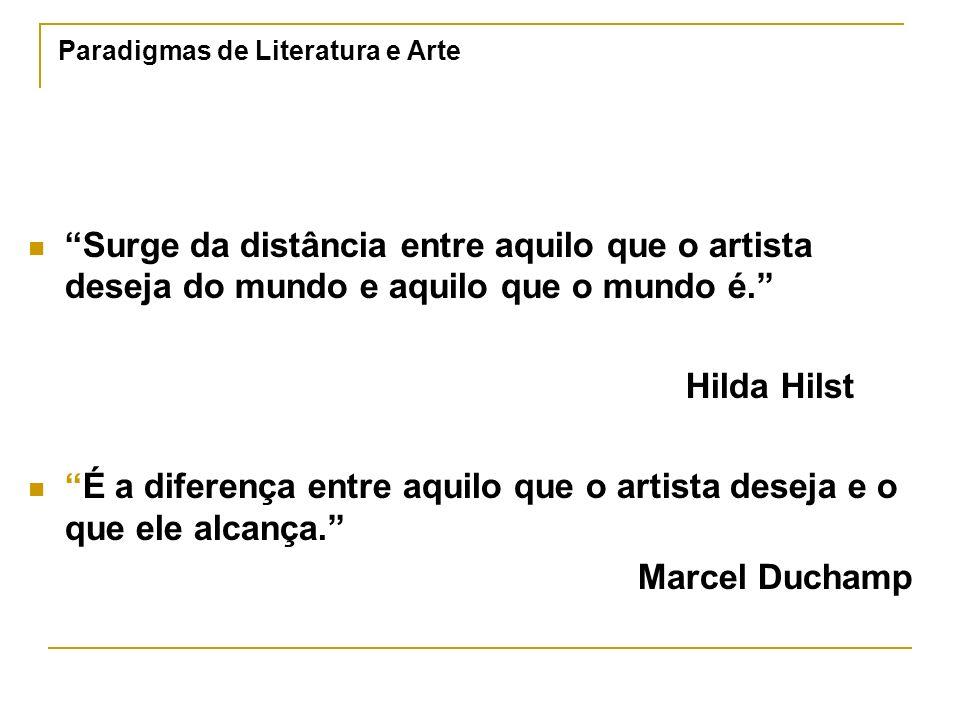 Paradigmas de Literatura e Arte Surge da distância entre aquilo que o artista deseja do mundo e aquilo que o mundo é. Hilda Hilst É a diferença entre