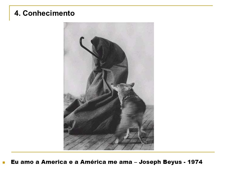 4. Conhecimento Eu amo a America e a América me ama – Joseph Beyus - 1974