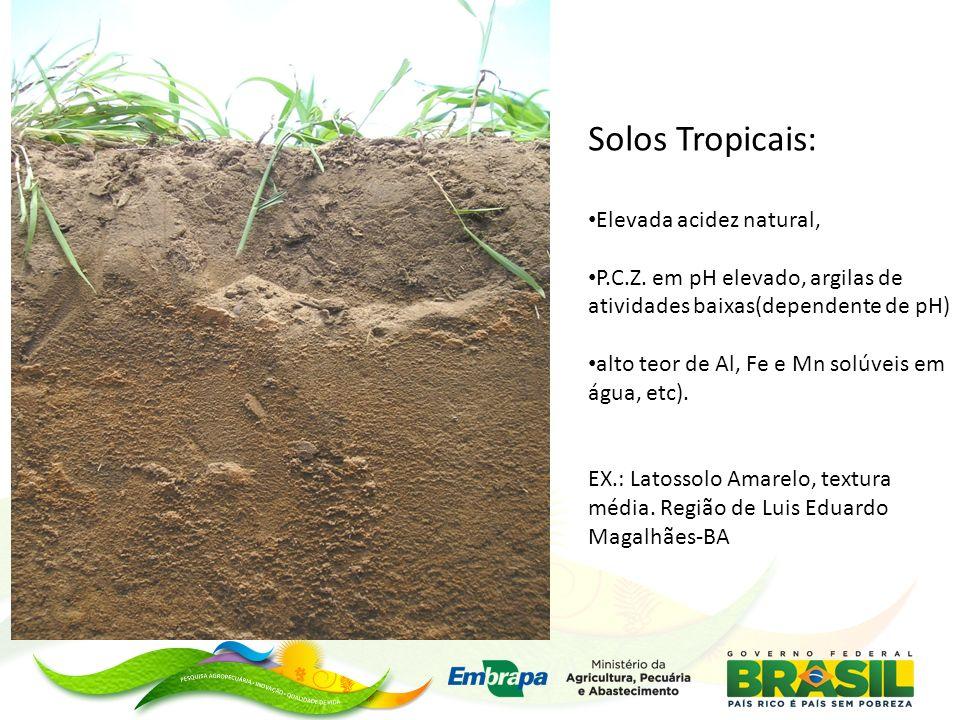 Solos Tropicais: Elevada acidez natural, P.C.Z. em pH elevado, argilas de atividades baixas(dependente de pH) alto teor de Al, Fe e Mn solúveis em águ