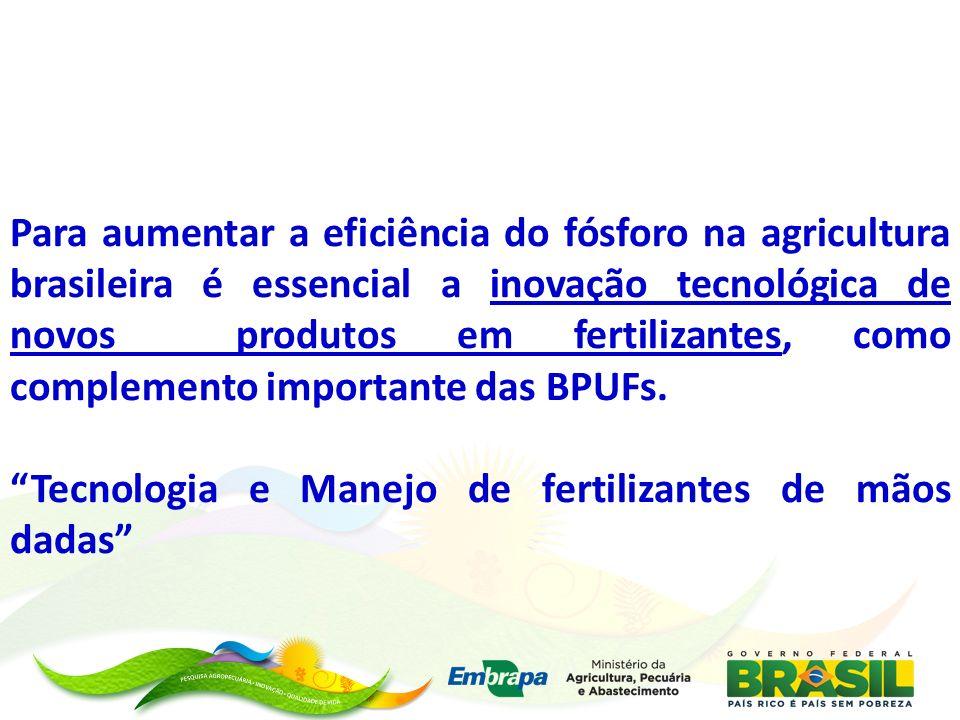 Para aumentar a eficiência do fósforo na agricultura brasileira é essencial a inovação tecnológica de novos produtos em fertilizantes, como complement