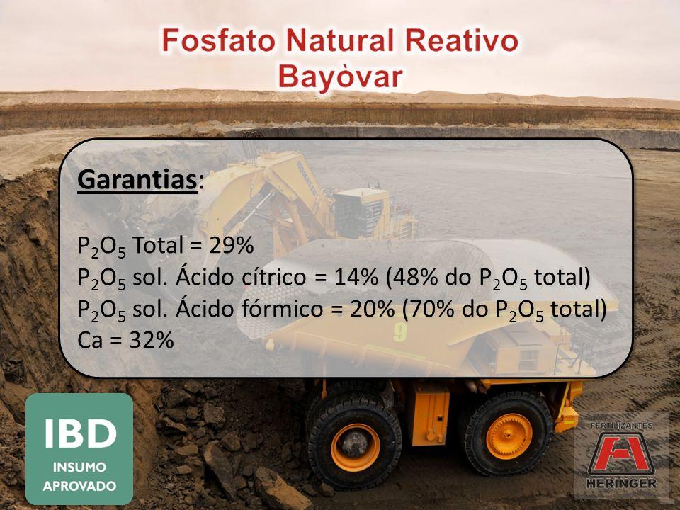 Garantias: P 2 O 5 Total = 29% P 2 O 5 sol. Ácido cítrico = 14% (48% do P 2 O 5 total) P 2 O 5 sol. Ácido fórmico = 20% (70% do P 2 O 5 total) Ca = 32