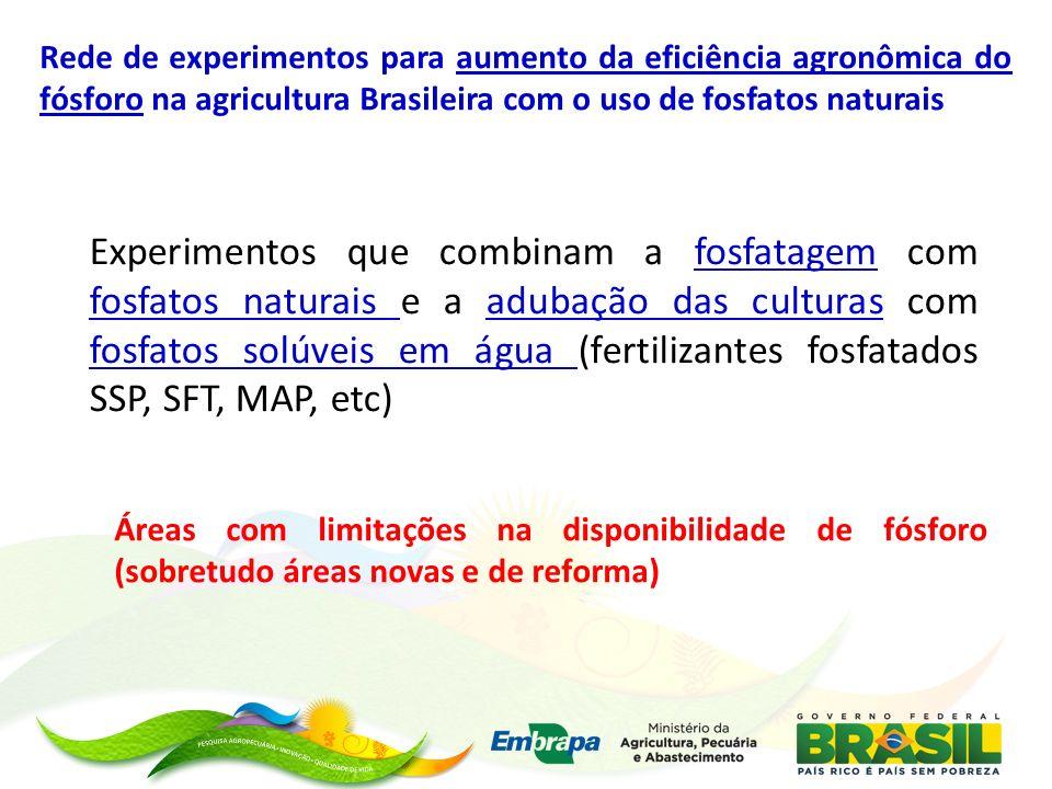 Rede de experimentos para aumento da eficiência agronômica do fósforo na agricultura Brasileira com o uso de fosfatos naturais Experimentos que combin