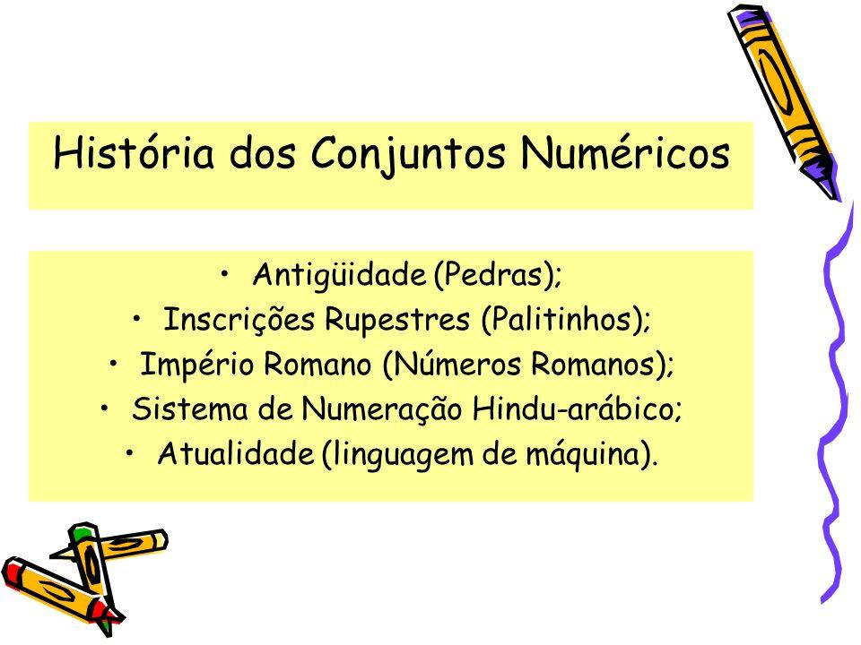 História dos Conjuntos Numéricos Antigüidade (Pedras); Inscrições Rupestres (Palitinhos); Império Romano (Números Romanos); Sistema de Numeração Hindu