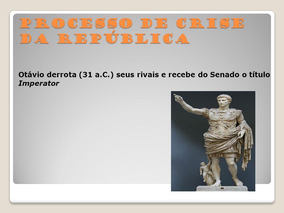 Processo de crise da República Otávio derrota (31 a.C.) seus rivais e recebe do Senado o título Imperator
