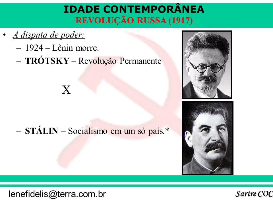 IDADE CONTEMPORÂNEA Sartre COC lenefidelis@terra.com.br REVOLUÇÃO RUSSA (1917) NEP (Nova Política Econômica) – 1921 – 1928 –Lênin. –Plano de recuperaç
