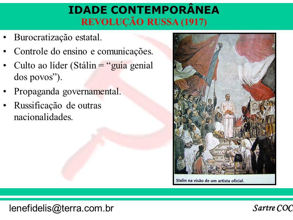 IDADE CONTEMPORÂNEA Sartre COC lenefidelis@terra.com.br REVOLUÇÃO RUSSA (1917) 6 - O STALINISMO (1924 – 1953): Ditadura totalitária. Eliminação da opo