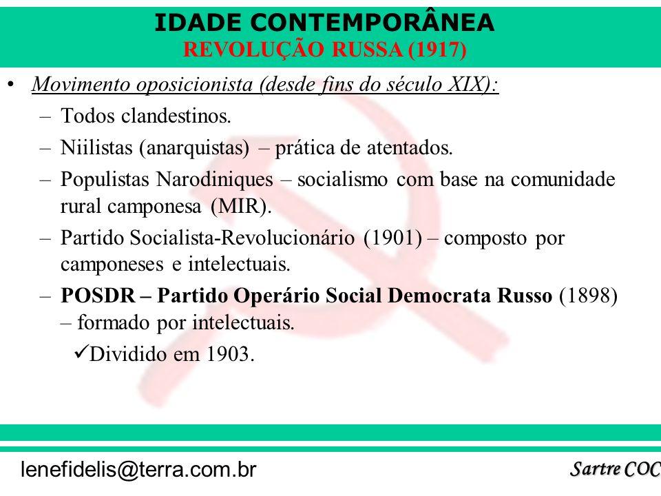 IDADE CONTEMPORÂNEA Sartre COC lenefidelis@terra.com.br REVOLUÇÃO RUSSA (1917) Movimento oposicionista (desde fins do século XIX): –Todos clandestinos.