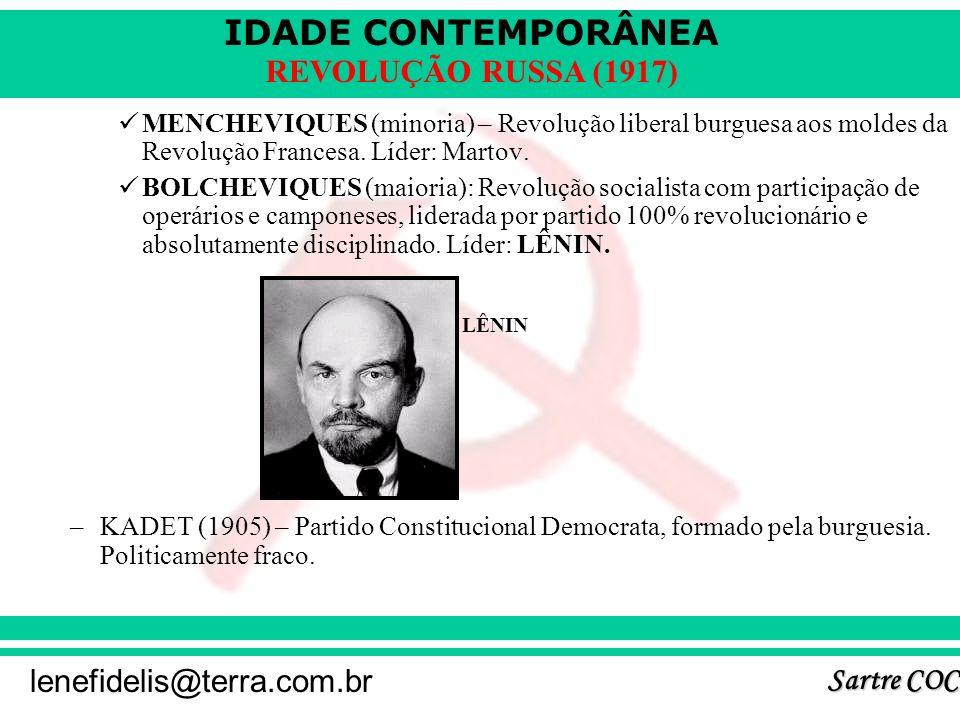 IDADE CONTEMPORÂNEA Sartre COC lenefidelis@terra.com.br REVOLUÇÃO RUSSA (1917) MENCHEVIQUES (minoria) – Revolução liberal burguesa aos moldes da Revolução Francesa.
