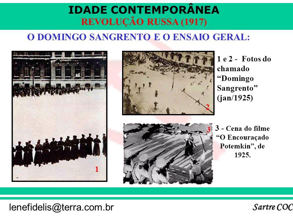 IDADE CONTEMPORÂNEA Sartre COC lenefidelis@terra.com.br REVOLUÇÃO RUSSA (1917) O DOMINGO SANGRENTO E O ENSAIO GERAL: 3 - Cena do filme O Encouraçado Potemkin, de 1925.