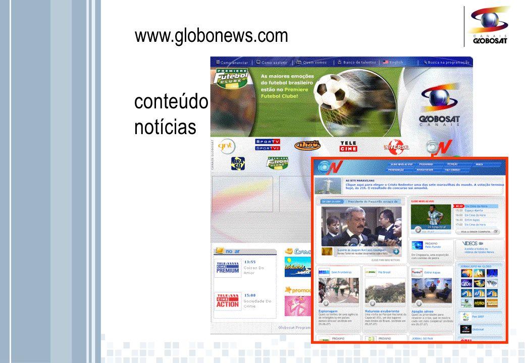 www.globosat.globo.com/ Mais de 1 milhão de cadastros ativos, entre eles: 56% são homens 46% têm até 24 anos Mais de 530 mil Newsletter* enviadas p/ mês tráfego