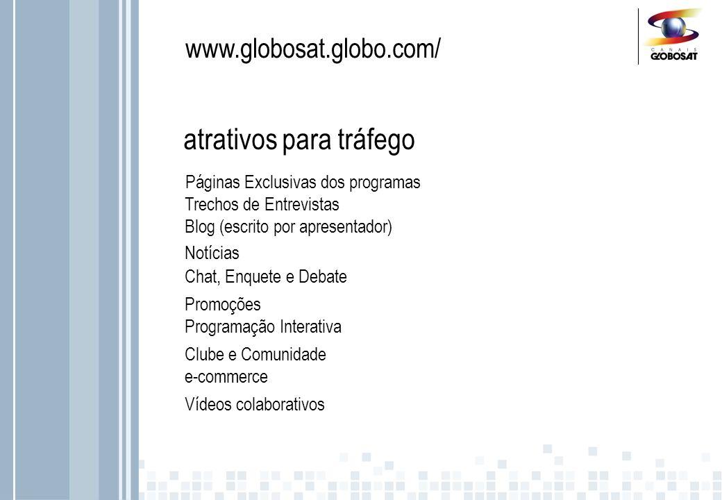 www.globosat.globo.com/ Multishow – 10 blogs no site do canal Páginas Exclusivas dos programas atrativos para tráfego Trechos de Entrevistas Blog (escrito por apresentador) Notícias Chat, Enquete e Debate Programação Interativa Promoções Clube e Comunidade e-commerce Vídeos colaborativos